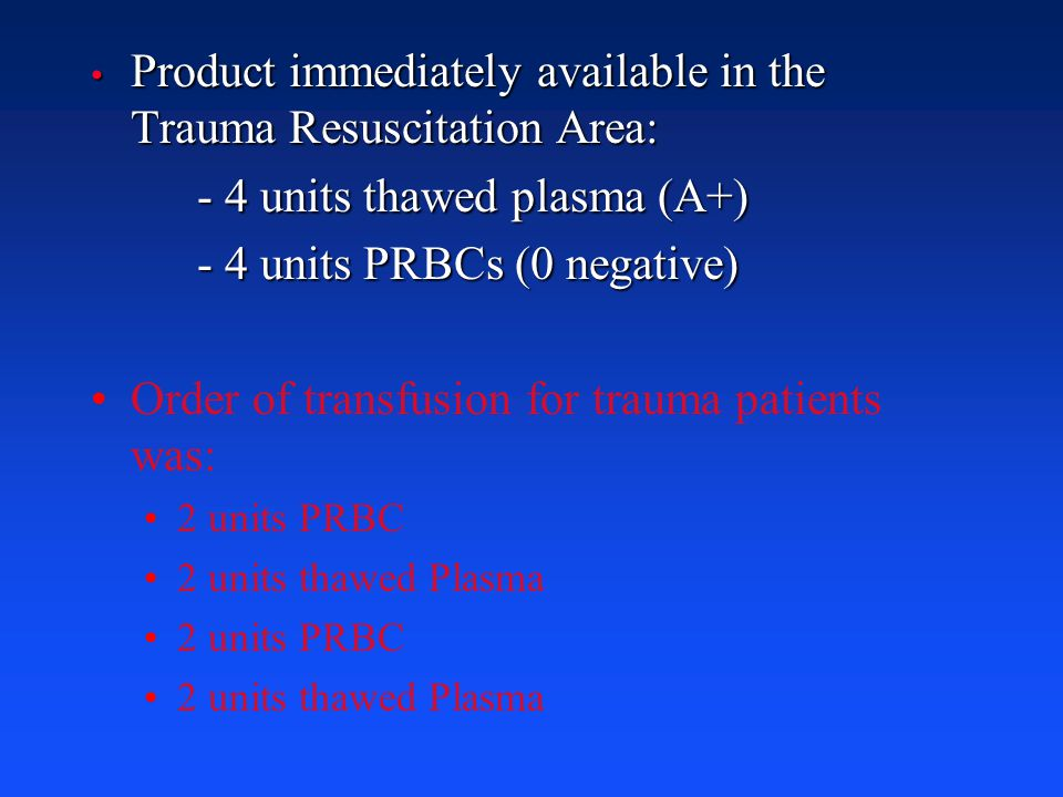 Product immediately available in the Trauma Resuscitation Area: