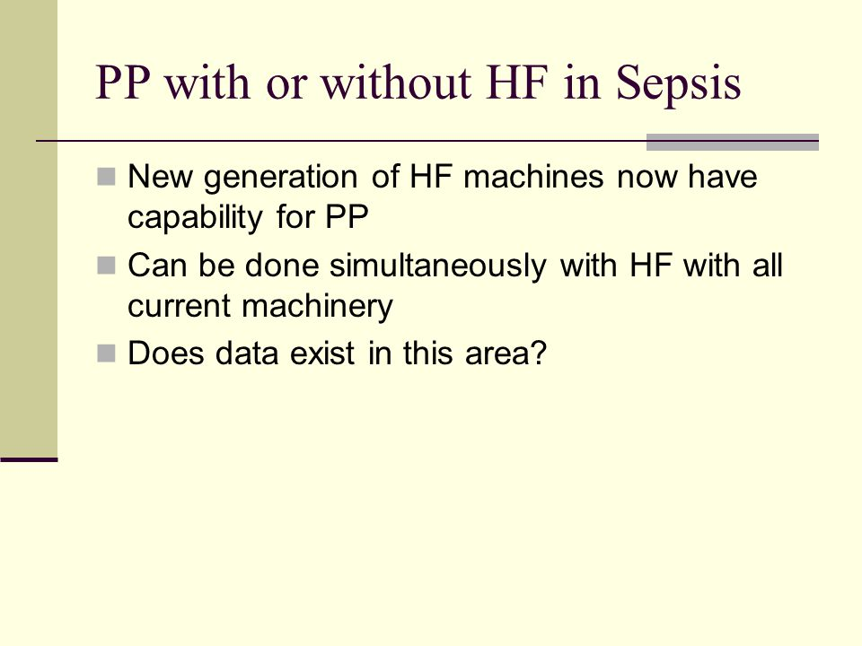 PP with or without HF in Sepsis