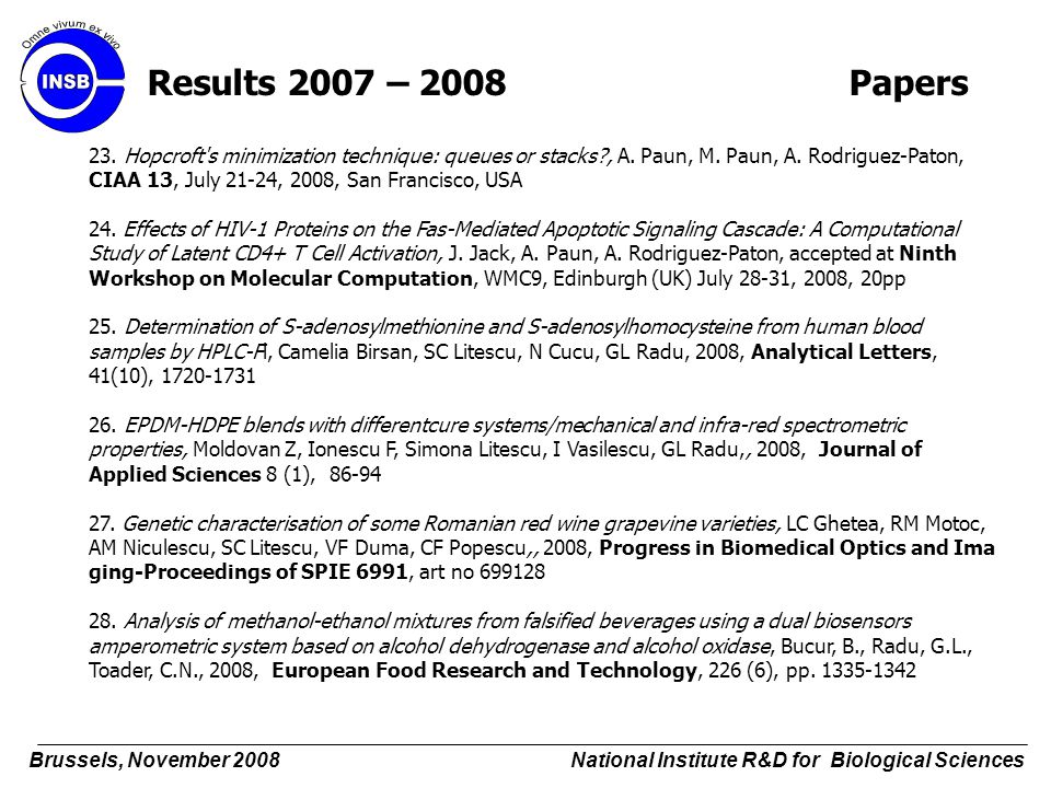 Results 2007 – 2008 Papers