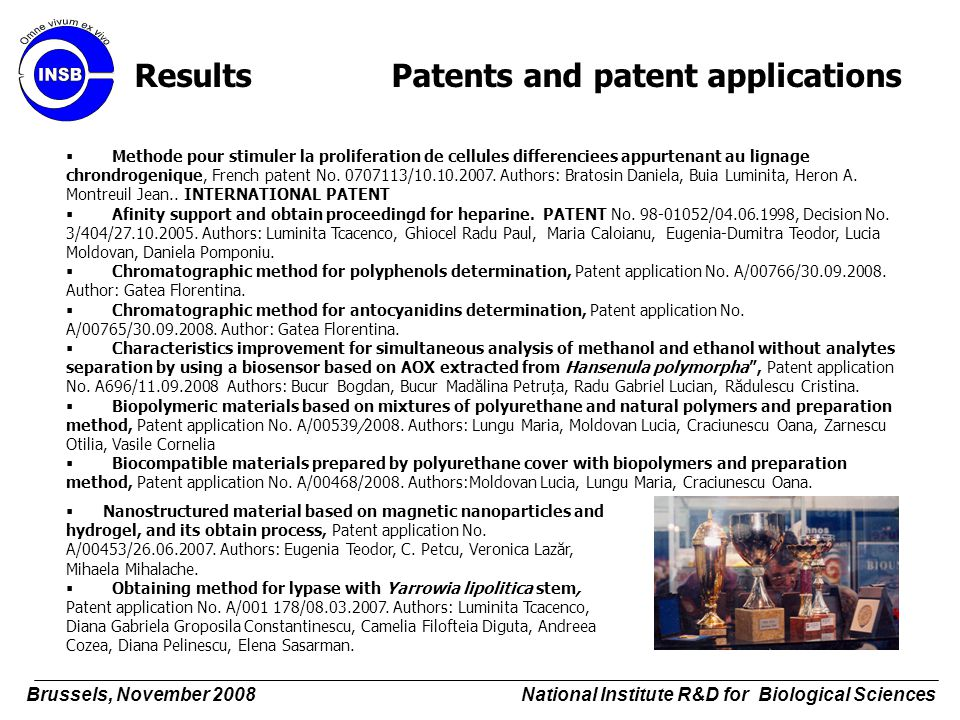 Results Patents and patent applications