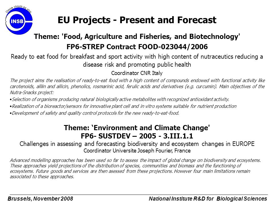 EU Projects - Present and Forecast