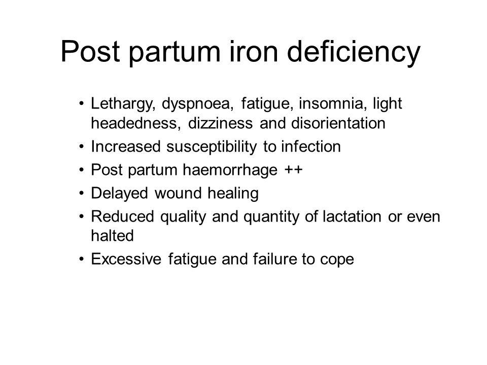 Post partum iron deficiency