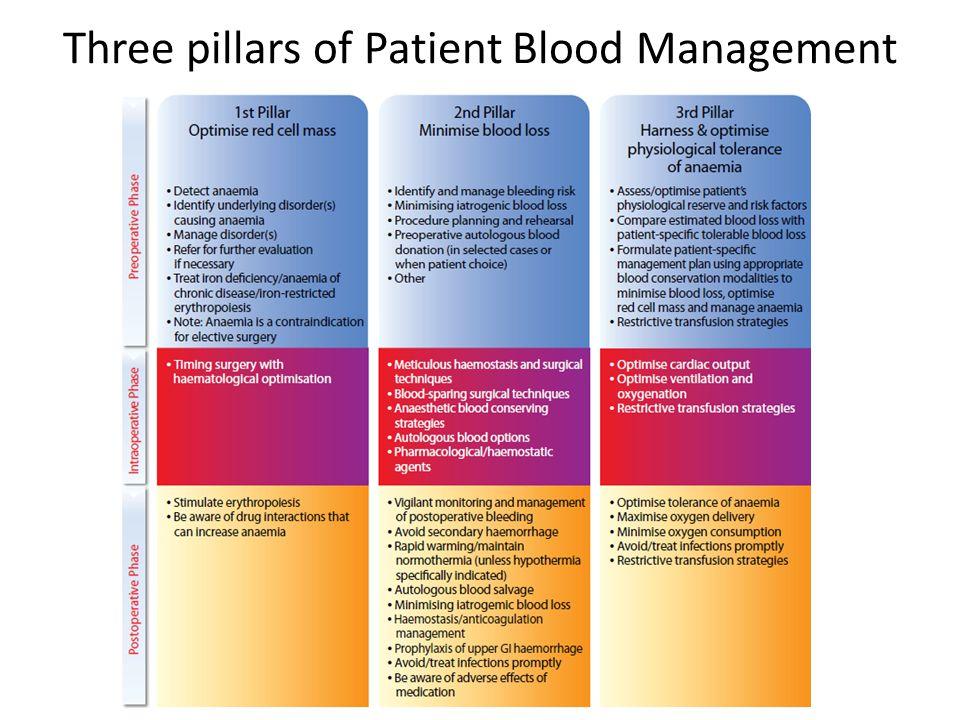 Three pillars of Patient Blood Management