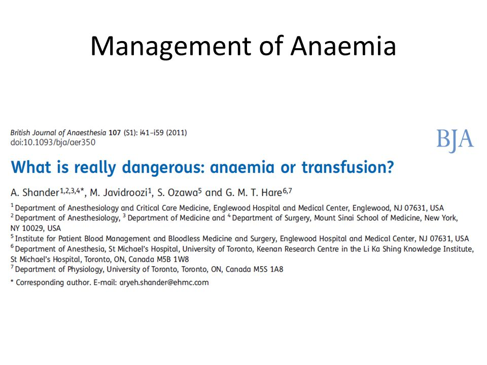 Management of Anaemia