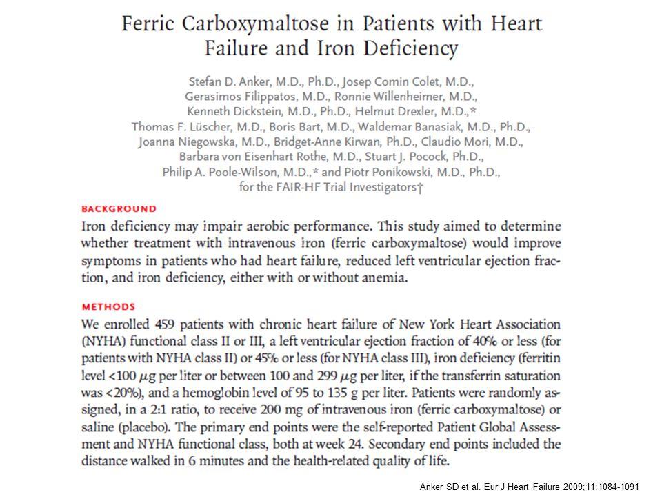 Anker SD et al. Eur J Heart Failure 2009;11:1084-1091