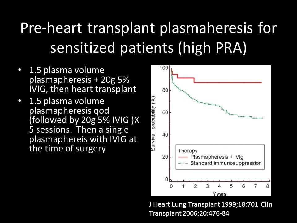 Pre-heart transplant plasmaheresis for sensitized patients (high PRA)