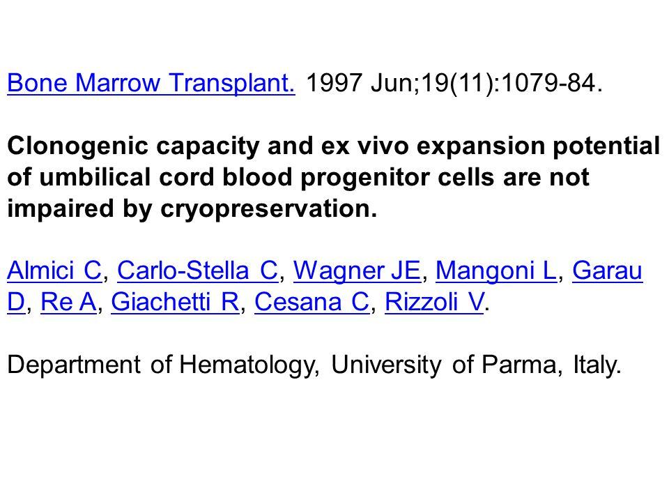 Bone Marrow Transplant. 1997 Jun;19(11):1079-84.