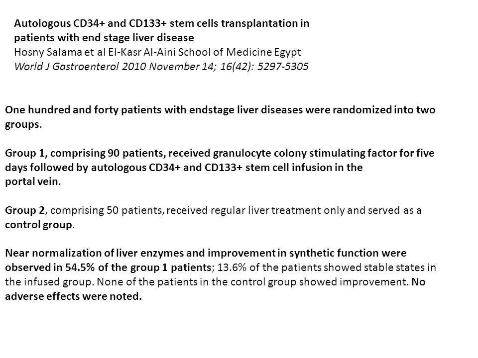 Autologous CD34+ and CD133+ stem cells transplantation in