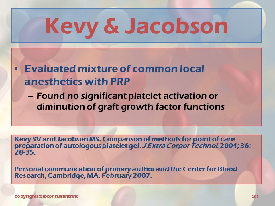 Kevy & Jacobson Evaluated mixture of common local anesthetics with PRP