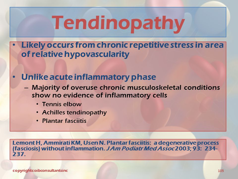 Tendinopathy Likely occurs from chronic repetitive stress in area of relative hypovascularity. Unlike acute inflammatory phase.