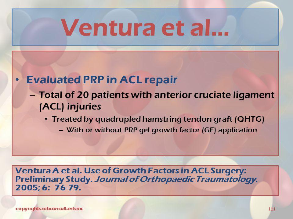Ventura et al… Evaluated PRP in ACL repair