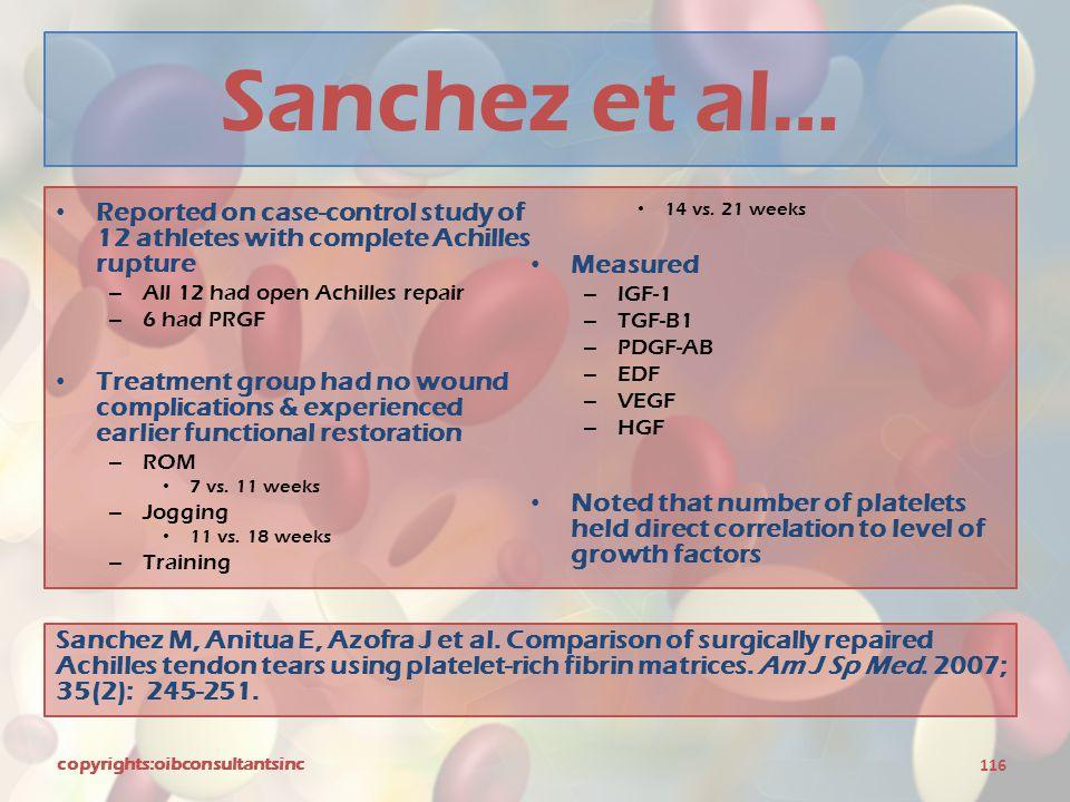 Sanchez et al… Reported on case-control study of 12 athletes with complete Achilles rupture. 14 vs. 21 weeks.