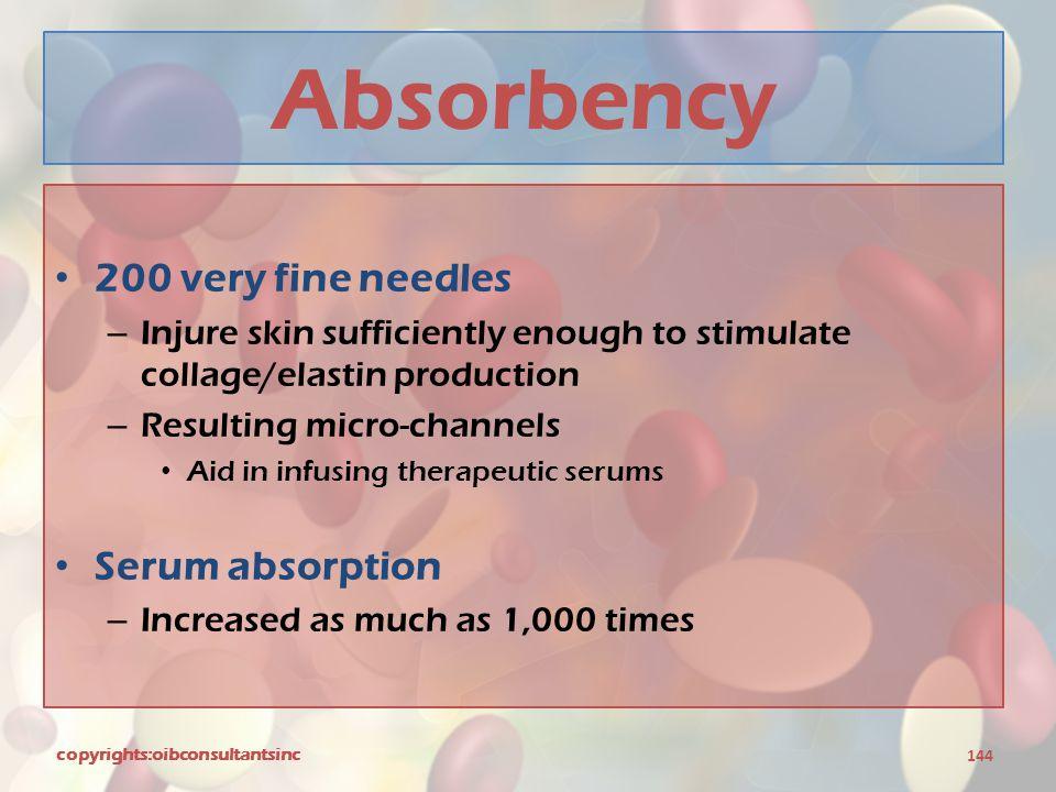 Absorbency 200 very fine needles Serum absorption