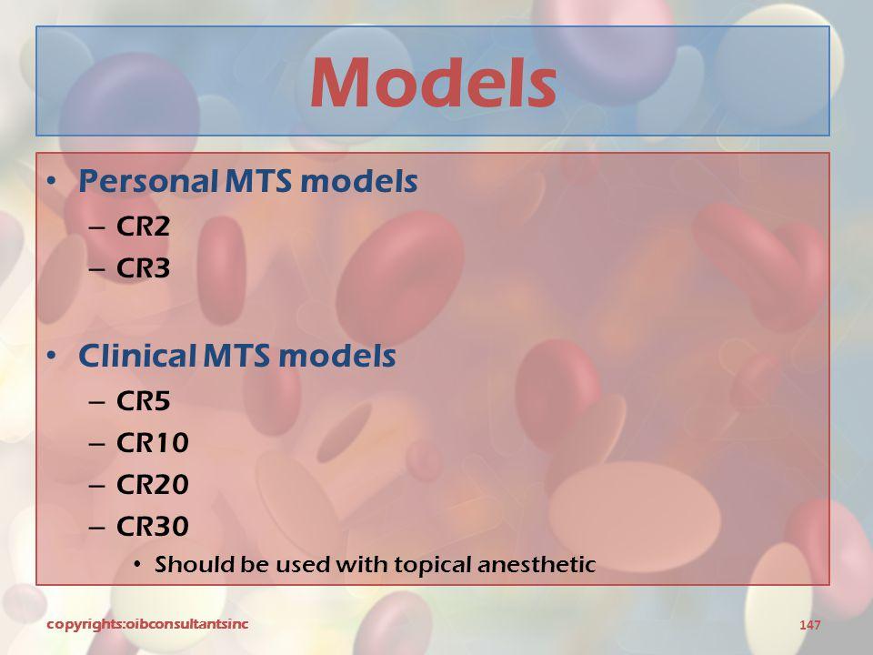 Models Personal MTS models Clinical MTS models CR2 CR3 CR5 CR10 CR20