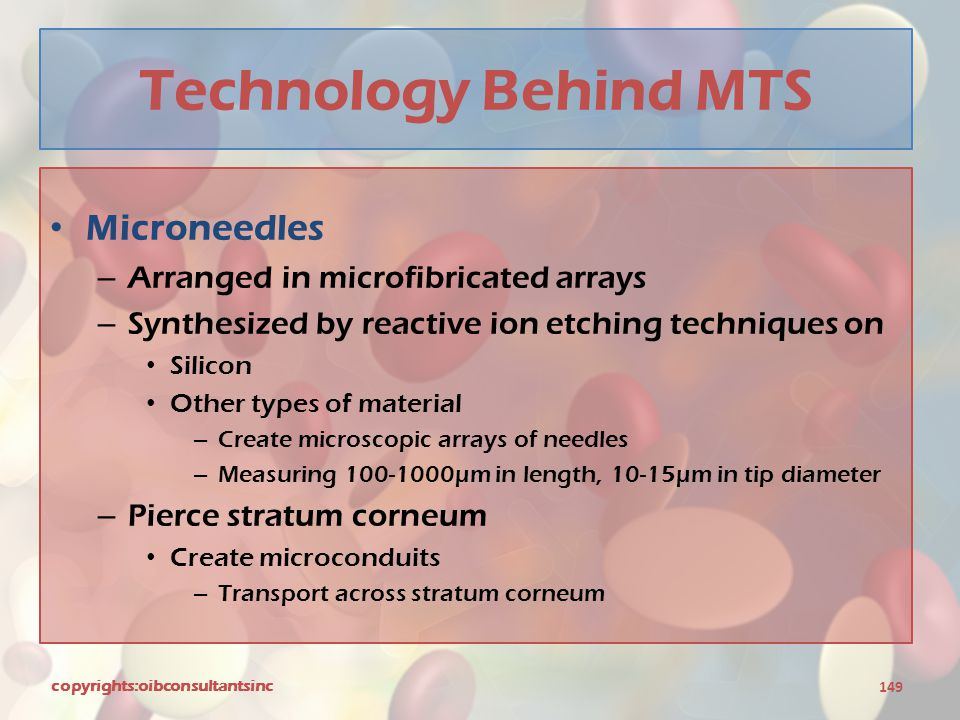Technology Behind MTS Microneedles Arranged in microfibricated arrays