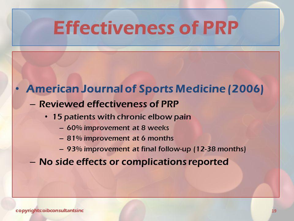 Effectiveness of PRP American Journal of Sports Medicine (2006)