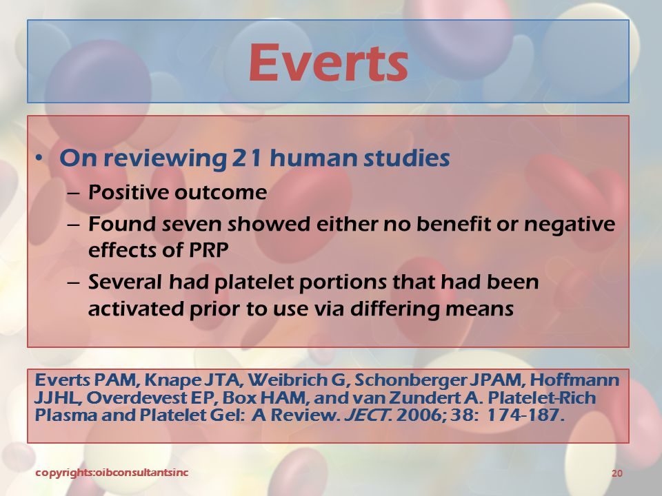 Everts On reviewing 21 human studies Positive outcome