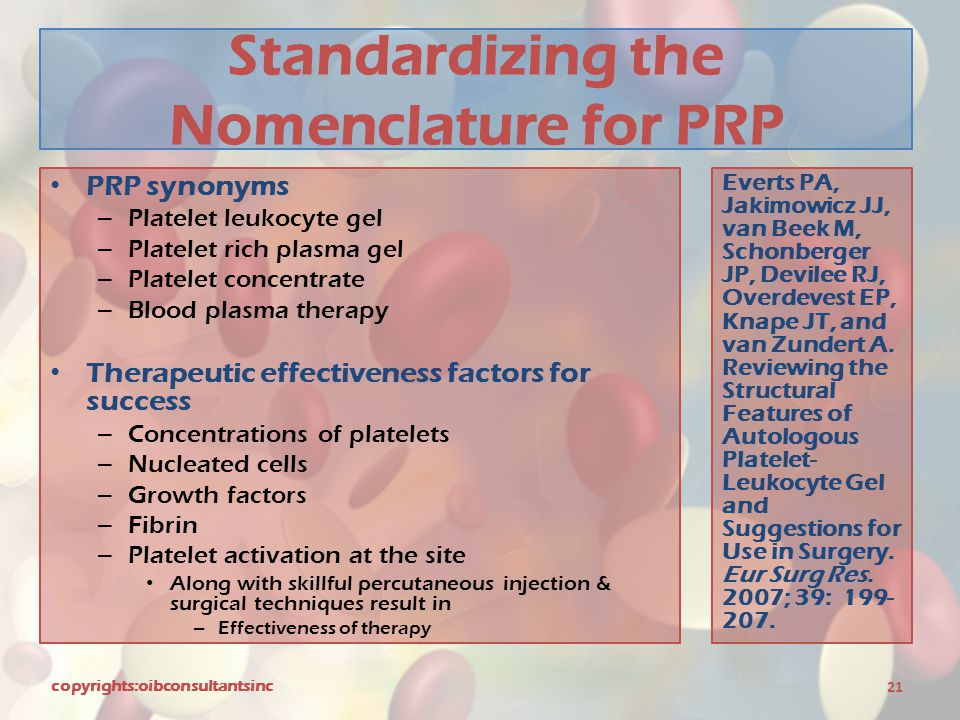 Standardizing the Nomenclature for PRP