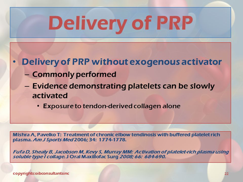 Delivery of PRP Delivery of PRP without exogenous activator