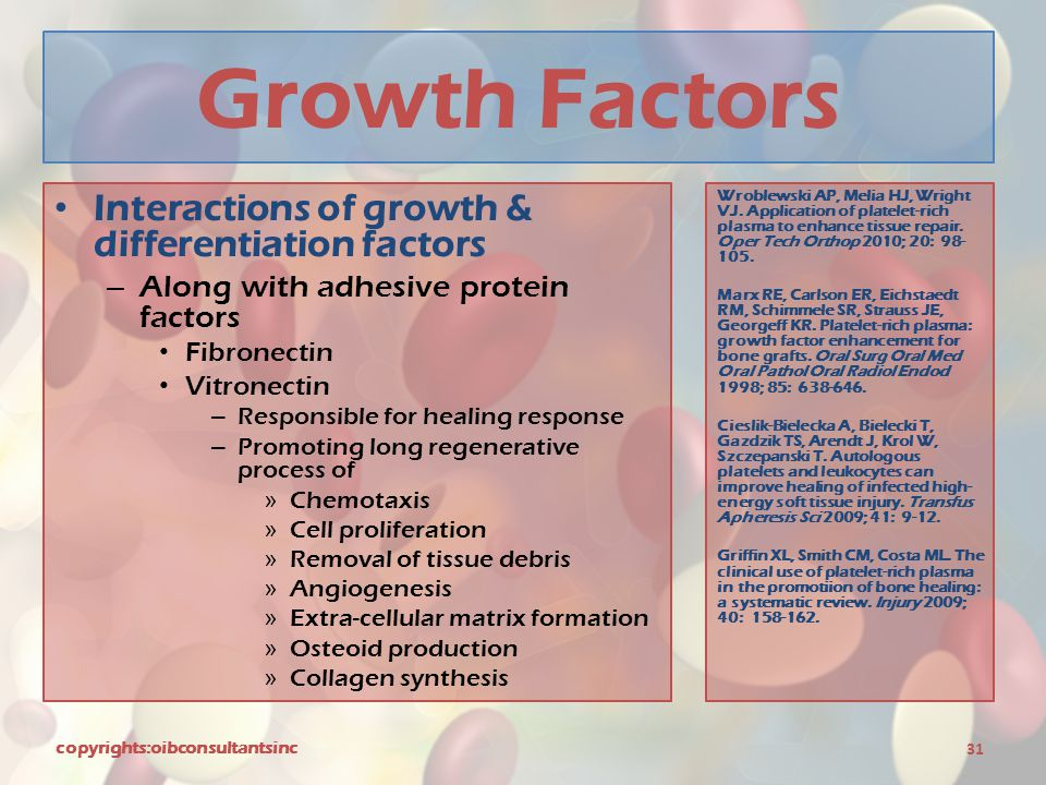 Growth Factors Interactions of growth & differentiation factors