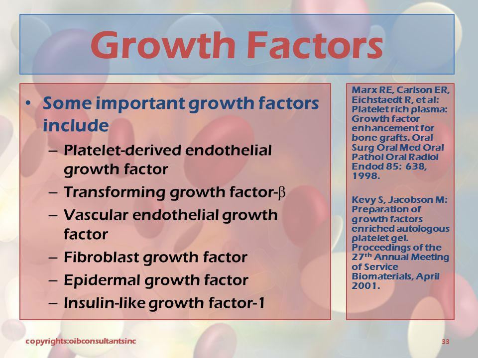 Growth Factors Some important growth factors include