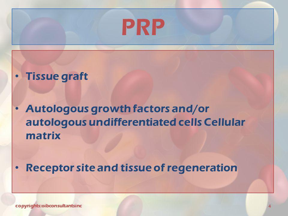 PRP Tissue graft. Autologous growth factors and/or autologous undifferentiated cells Cellular matrix.