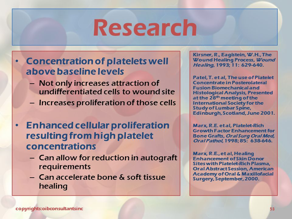 Research Concentration of platelets well above baseline levels
