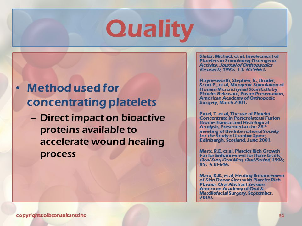 Quality Method used for concentrating platelets