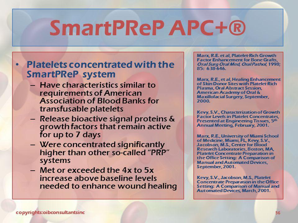SmartPReP APC+® Platelets concentrated with the SmartPReP system