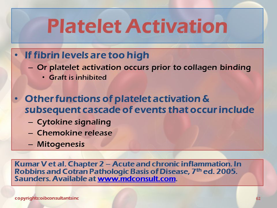 Platelet Activation If fibrin levels are too high