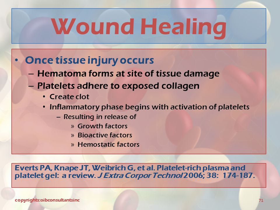 Wound Healing Once tissue injury occurs