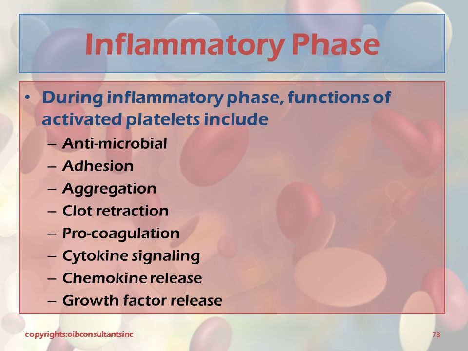 Inflammatory Phase During inflammatory phase, functions of activated platelets include. Anti-microbial.