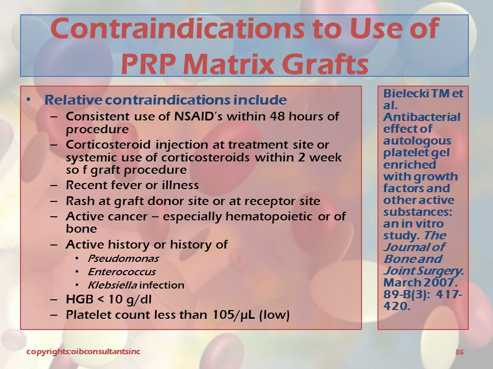 Contraindications to Use of PRP Matrix Grafts