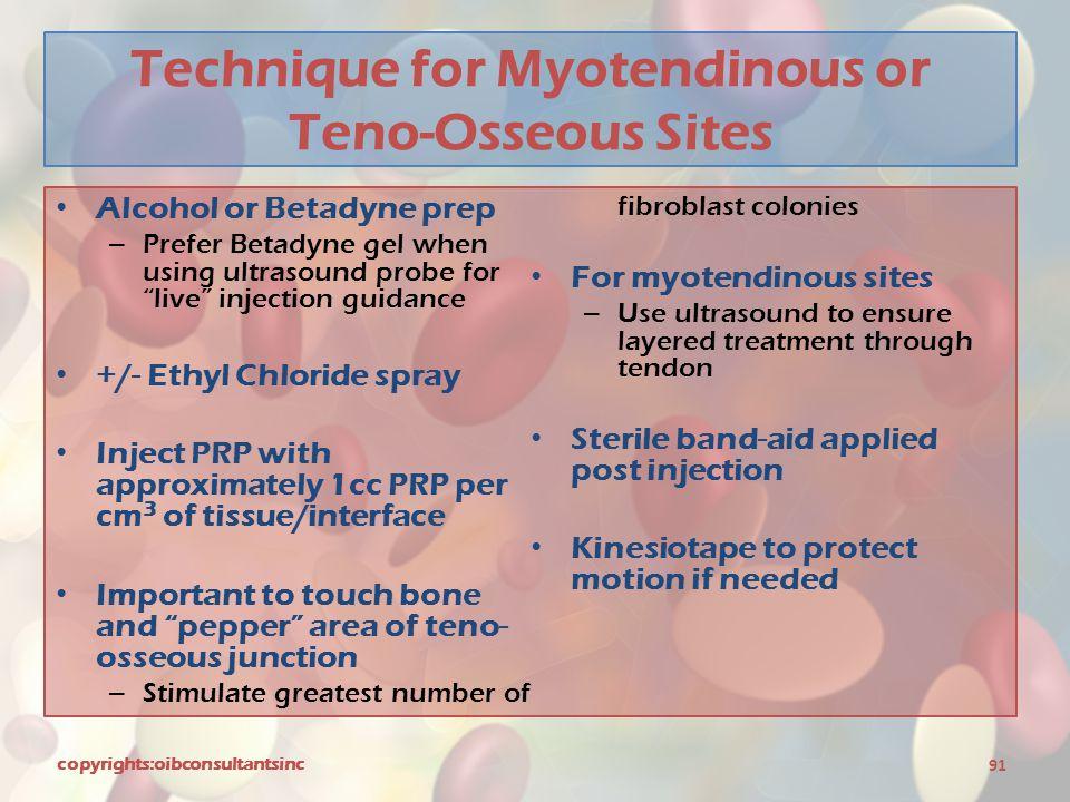 Technique for Myotendinous or Teno-Osseous Sites