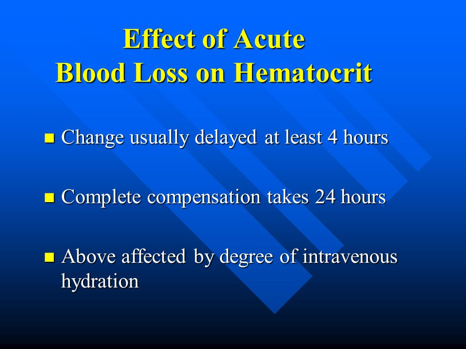 Effect of Acute Blood Loss on Hematocrit