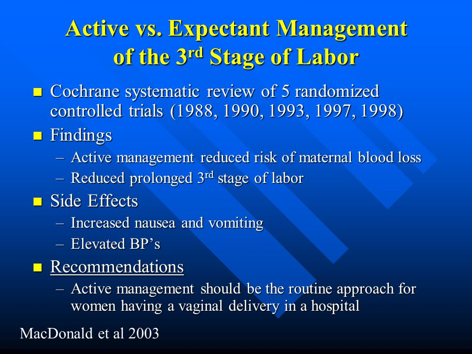 Active vs. Expectant Management of the 3rd Stage of Labor