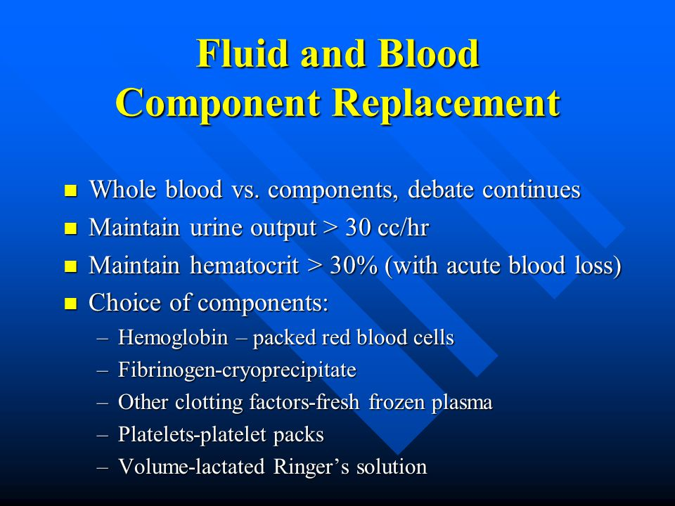 Fluid and Blood Component Replacement