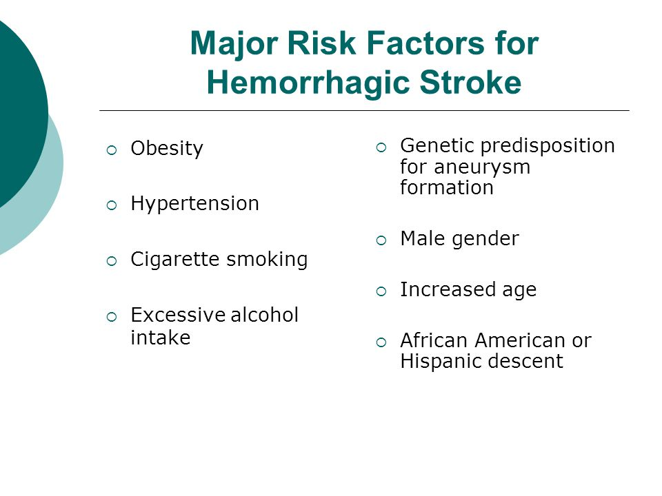 Major Risk Factors for Hemorrhagic Stroke