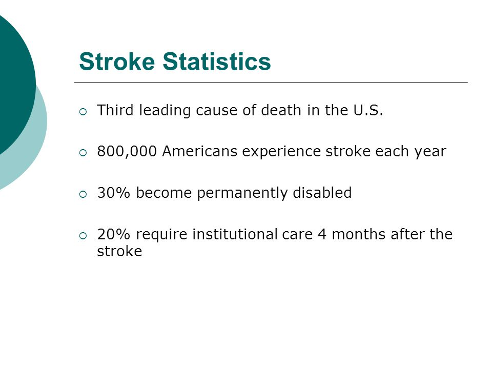 Stroke Statistics Third leading cause of death in the U.S.