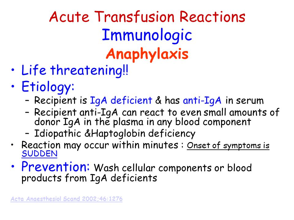 Acute Transfusion Reactions Immunologic