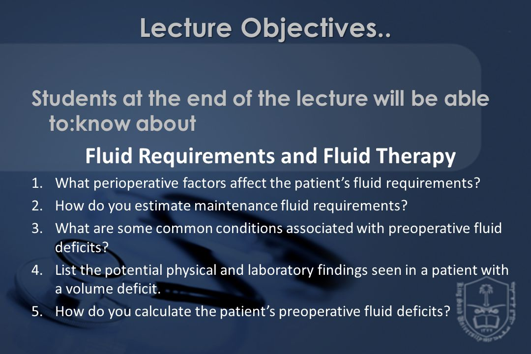 Fluid Requirements and Fluid Therapy
