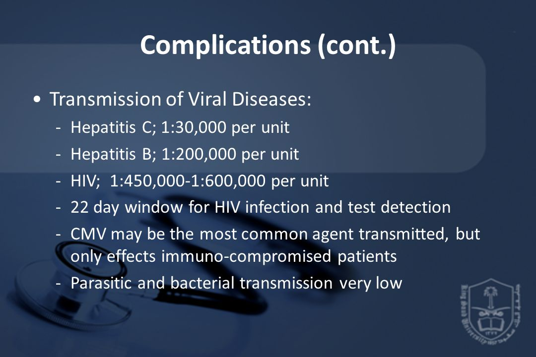 Complications (cont.) Transmission of Viral Diseases: