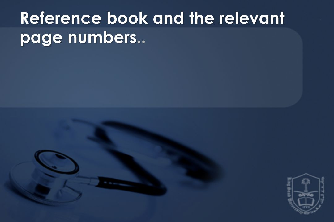 Reference book and the relevant page numbers..