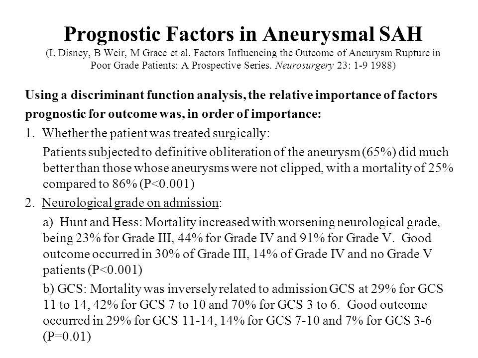 Prognostic Factors in Aneurysmal SAH (L Disney, B Weir, M Grace et al
