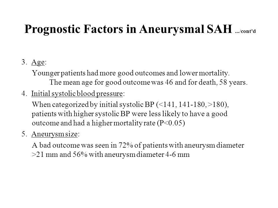 Prognostic Factors in Aneurysmal SAH .../cont'd