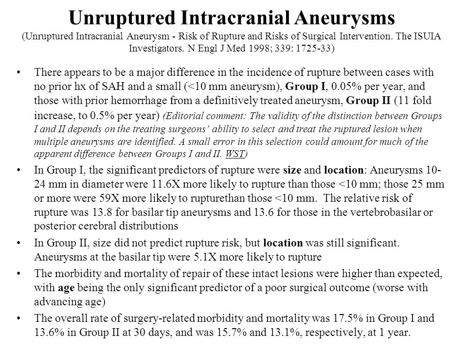 Unruptured Intracranial Aneurysms (Unruptured Intracranial Aneurysm - Risk of Rupture and Risks of Surgical Intervention. The ISUIA Investigators. N Engl J Med 1998; 339: 1725-33)