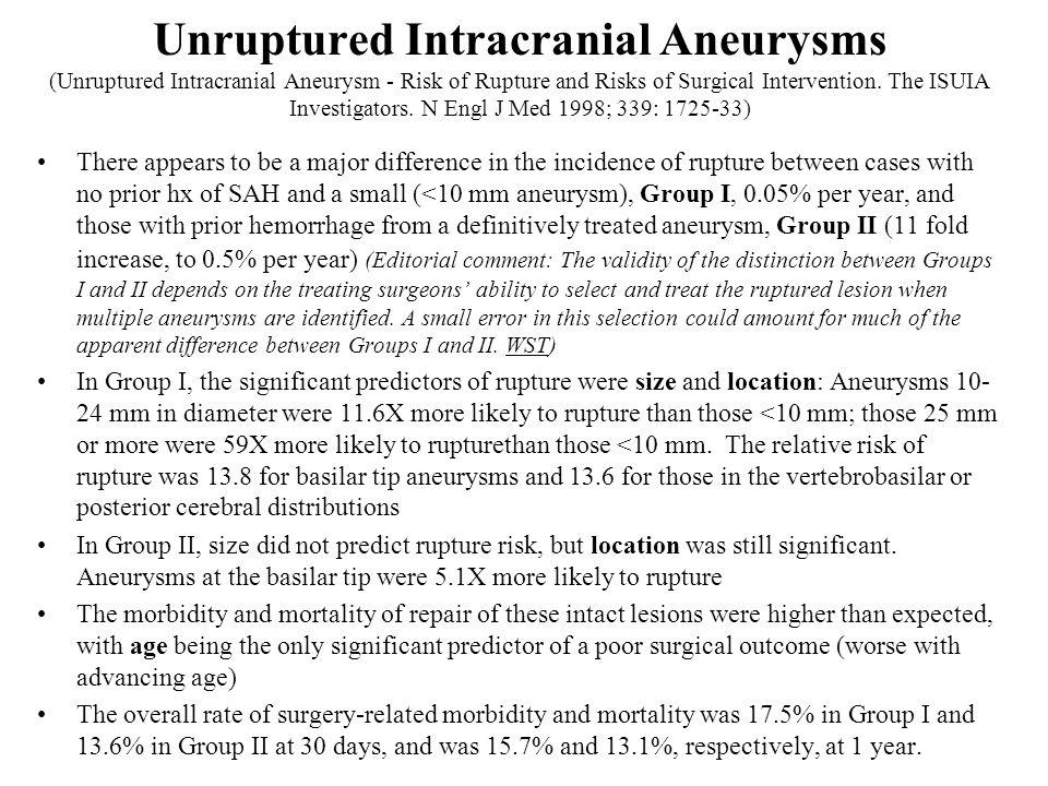 Unruptured Intracranial Aneurysms (Unruptured Intracranial Aneurysm - Risk of Rupture and Risks of Surgical Intervention. The ISUIA Investigators. N Engl J Med 1998; 339: 1725-33)