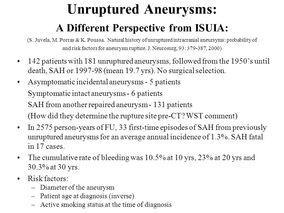 Unruptured Aneurysms: A Different Perspective from ISUIA: (S. Juvela, M. Porras & K. Poussa. Natural history of unruptured intracranial aneursyms: probability of and risk factors for aneurysm rupture. J. Neurosurg, 93: 379-387, 2000)