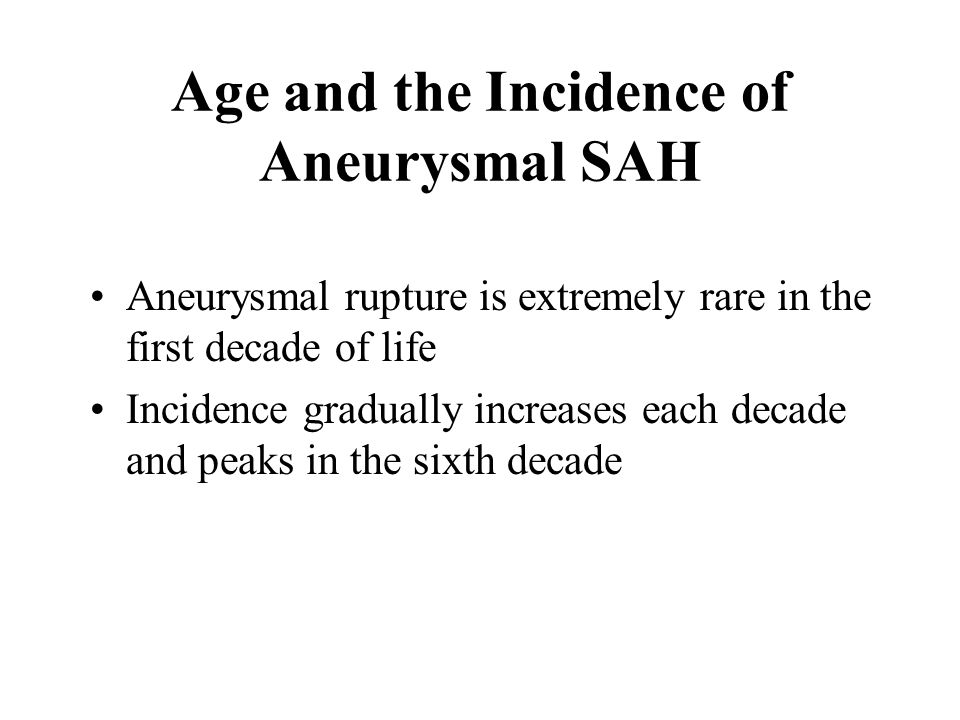 Age and the Incidence of Aneurysmal SAH