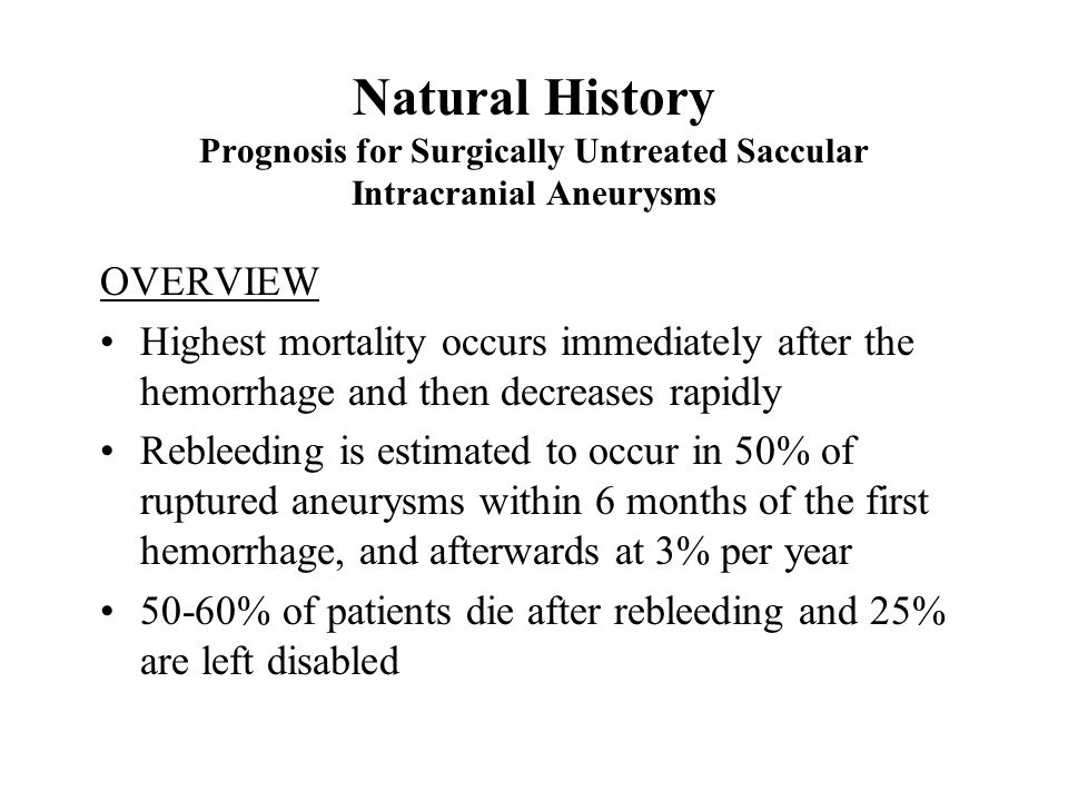 Natural History Prognosis for Surgically Untreated Saccular Intracranial Aneurysms